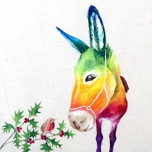 """Donkey Christmas Card 6""""x6"""""""