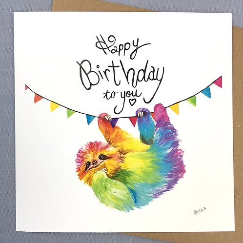 """Happy Birthday""  Sloth card  6""x6"""