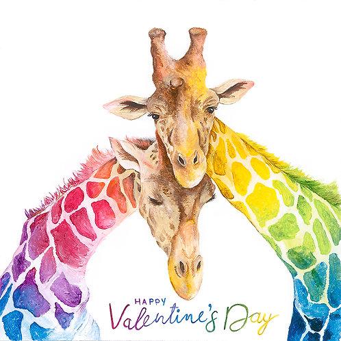 "Giraffe ""Happy Valentine's Day"" Card 6""x6"""