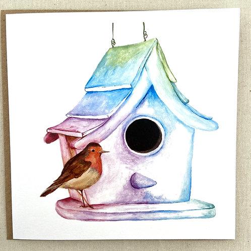 "Robin Birdhouse card  6""x6"""
