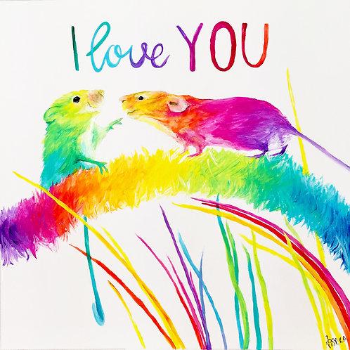 "I love you ""Harvest Mice"" card  6""x6"""