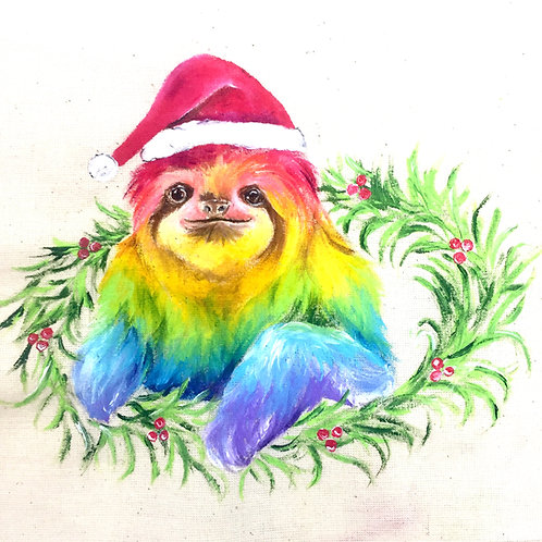 "Wreath Sloth Christmas Card 6""x6"""