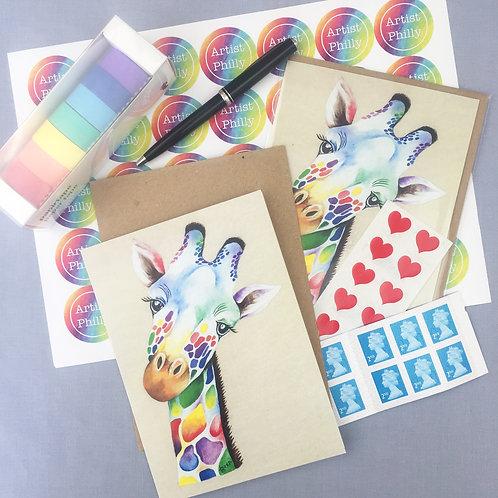"""Giraffe card 5""""x7"""""""