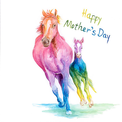 """(B27) Horses """"Happy Mother's Day"""" Card 6""""x6"""""""