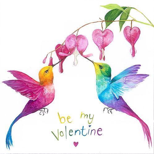 "(B29) Humming Birds ""Be My Valentine"" Card 6""x6"""