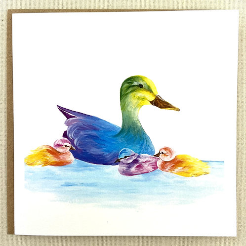 "Duck and Ducklings card  6""x6"""