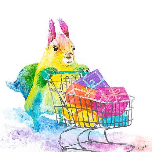 Shopping Squirrel Prints