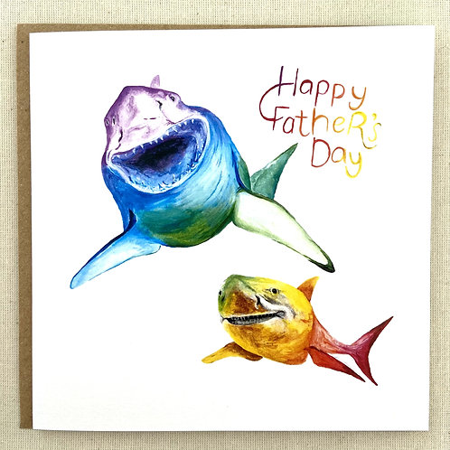 """""""Happy Father's Day"""" Sharks card  6""""x6"""""""