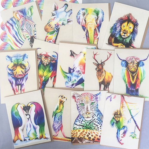 Animal Print Cards (Select 12 designs for £20)