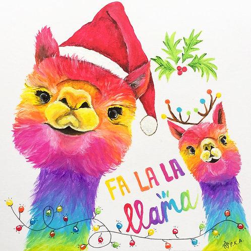 "Fa-la-la Llama Christmas Card 6""x6"""