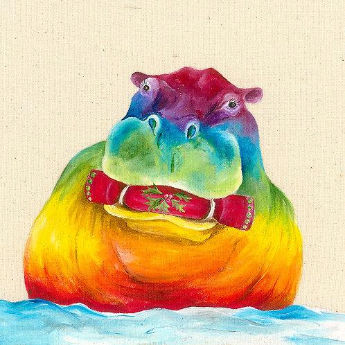"""Hippo Christmas Card 6""""x6"""""""