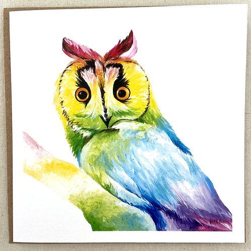 """Owl card  6""""x6"""""""