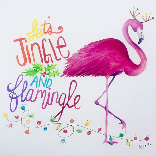 "Flamingo Christmas Card 6""x6"""