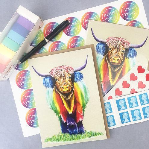 """Highland Cow card 5""""x7"""""""