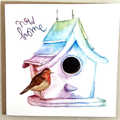 "(B19) Robin ""New Home"" Card 6""x6"""