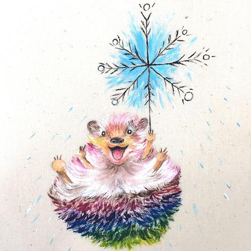 "Happiest Hedgehog Christmas Card 6""x6"""