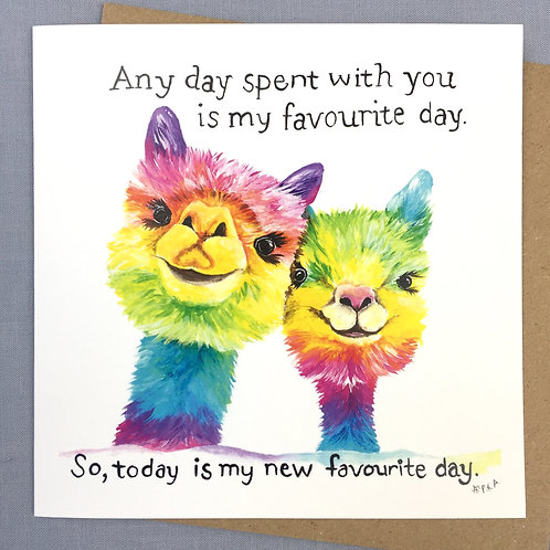 """Favourite Day"" Llamas Card 6""x6"""