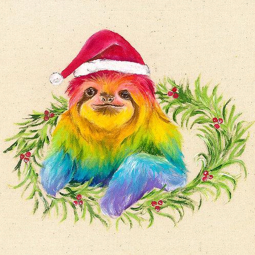"""Sloth Christmas Card 6""""x6"""""""