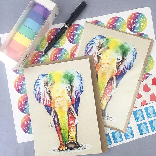 """Elephant card 5""""x7"""""""