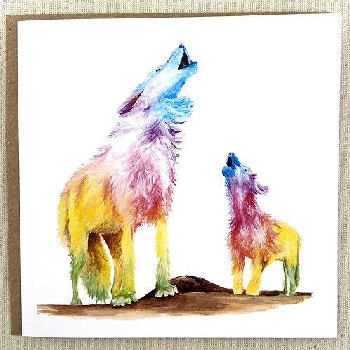 """Wolves card  6""""x6"""""""