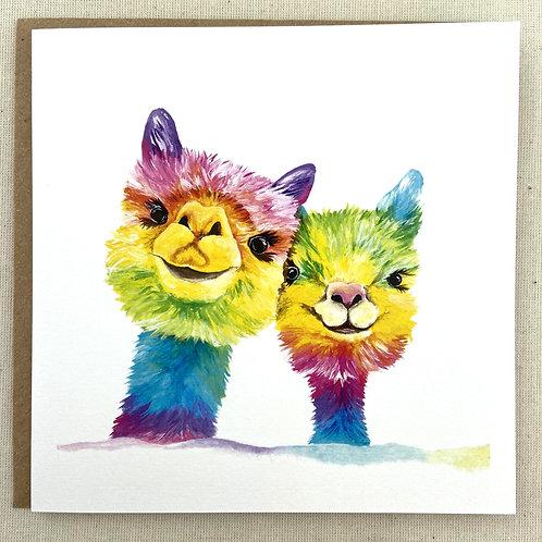 """Llamas Card 6""""x6"""""""