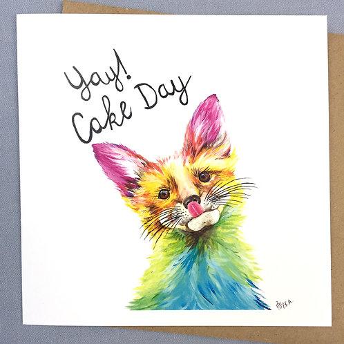 """""""Cake Day"""" Mr Fox Card 6""""x6"""""""