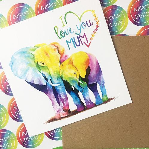 """I Love You Mum Card  6""""x6"""""""