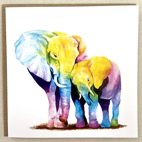 """(B4) Elephant Love Card 6""""x6"""""""