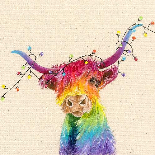 """Highland Cow Christmas Card 6""""x6"""""""