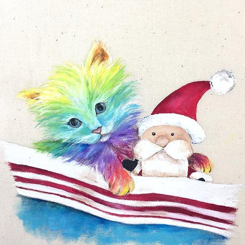 "Kitten Christmas Card 6""x6"""