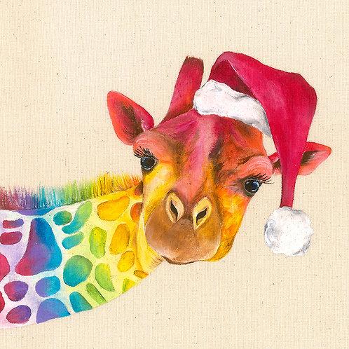 "Giraffe Christmas Card 6""x6"""