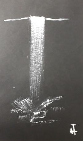 cascade, gouache blanche