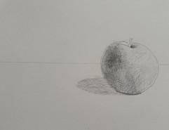 étude de la pomme au crayon