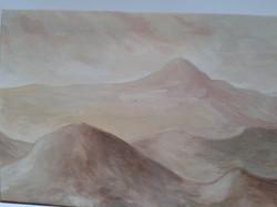 paysage de montagnes à l'huile