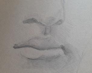 crayon sur papier mi teinte