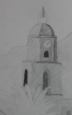 village au crayon