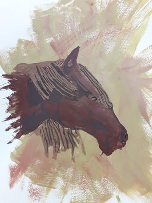 tête de cheval à l'acrylique de Cyprien