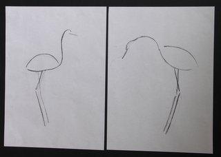 oiseaux au fusain