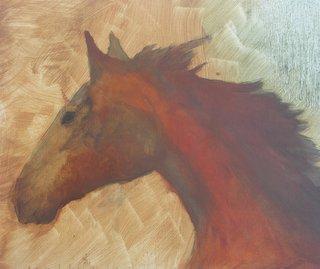 cheval de profil à l'huile