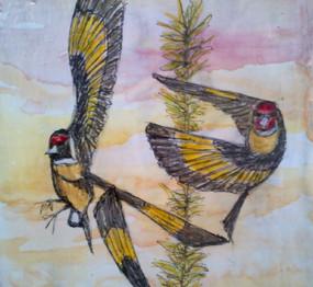 aquarelle et crayon à bille sur carton.j