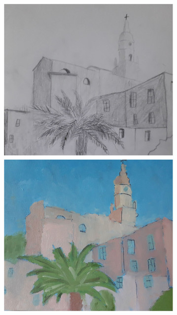 Village de Capucine, crayon et huile