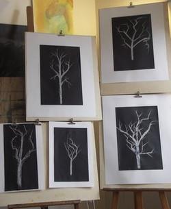 arbres d'hiver, craie