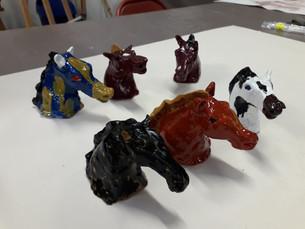 modelage têtes de chevaux