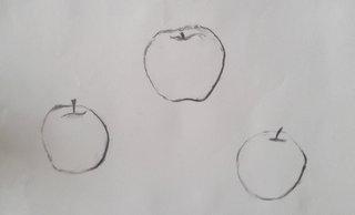 Pomme à la ligne, fusain