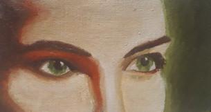 regard vert - peinture à l'huile