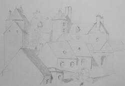 Village, crayon