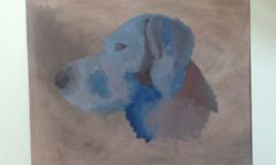 chien de Syméon, peinture à l'huile