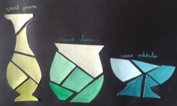 huile et collage, étude des Verts