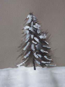 sapin sous la neige