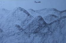 paysage de montagnes au fusain